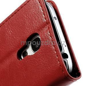 Peněženkové PU kožené pouzdro na Samsung Galaxy S4 mini - červené - 6