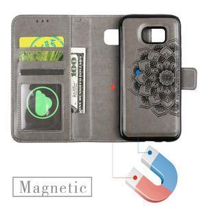 Mandala PU kožené pouzdro na Samsung Galaxy S7 Edge - šedé - 6