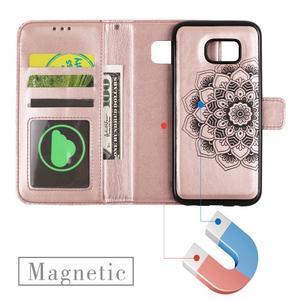 Mandala PU kožené pouzdro na Samsung Galaxy S7 Edge - růžovozlaté - 6