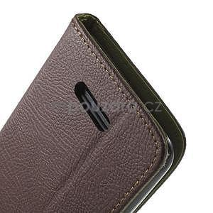 PU kožené lístkové pouzdro pro Sony Xperia E4 - hnědé - 6