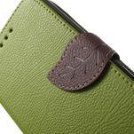 PU kožené lístkové pouzdro pro Sony Xperia E4 - zelené - 6/7
