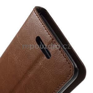 PU kožené peněženkové pouzdro na mobil Sony Xperia E4 - hnědé - 6