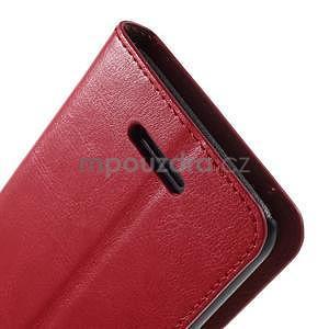 PU kožené pěněženkové pouzdro na mobil Sony Xperia E4 - červené - 6