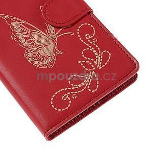 Peněženkové pouzdro s motýlkem na Sony Xperia E4 - červené - 6