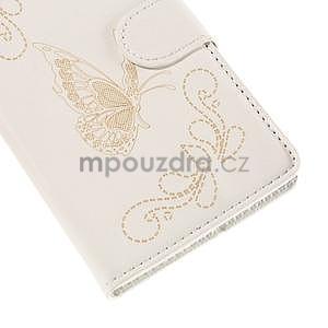 Peněženkové pouzdro s motýlkem na Sony Xperia E4 - bílé - 6