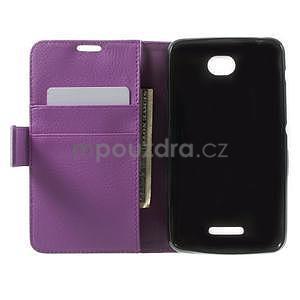 PU kožené peněženkové pouzdro na Sony Xperia E4 - fialové - 6