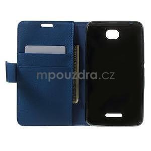 PU kožené peněženkové pouzdro na Sony Xperia E4 - modré - 6