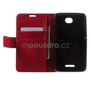 PU kožené peněženkové pouzdro na Sony Xperia E4 - červené - 6