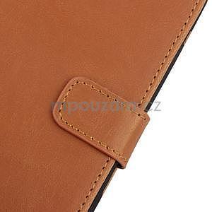 PU kožené PU peněženkové pouzdro na Sony Xperia E4 - hnědé - 6