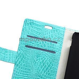 Pouzdro s krokodýlím vzorem na Sony Xperia E4 - tyrkysové - 6