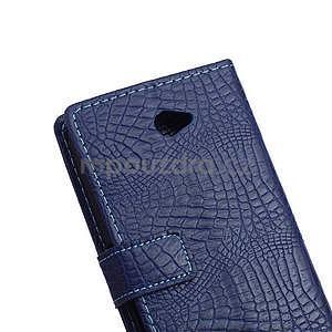 Pouzdro s krokodýlím vzorem na Sony Xperia E4 - tmavě modré - 6