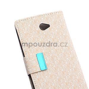 Vzorované pěněženkové pouzdro na Sony Xperia E4 - béžové - 6