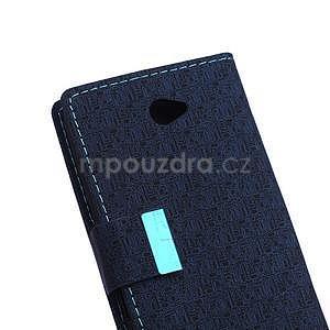 Vzorované pěněženkové pouzdro na Sony Xperia E4 - tmavě modré - 6