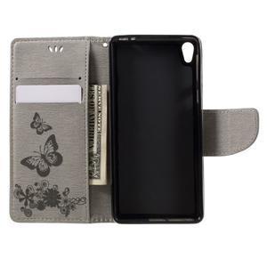 Butterfly PU kožené pouzdro na Sony Xperia E5 - šedé - 6