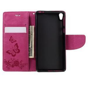Butterfly PU kožené pouzdro na Sony Xperia E5 - rose - 6