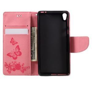 Butterfly PU kožené pouzdro na Sony Xperia E5 - růžové - 6