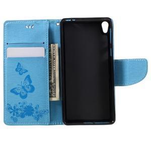 Butterfly PU kožené pouzdro na Sony Xperia E5 - světledmodré - 6