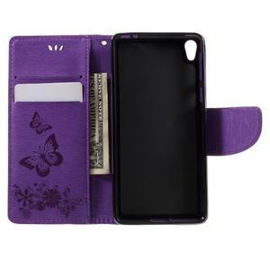 Butterfly PU kožené pouzdro na Sony Xperia E5 - fialové - 6