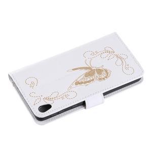 Motýlkové PU kožené pouzdro na mobil Sony Xperia E5 - bílé - 6