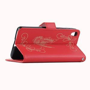 Motýlkové PU kožené pouzdro na mobil Sony Xperia E5 - červené - 6