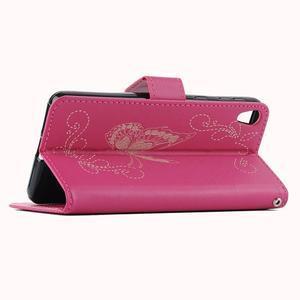Motýlkové PU kožené pouzdro na mobil Sony Xperia E5 - rose - 6