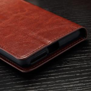 Horss PU kožené pouzdro na Sony Xperia E5 - hnědé - 6