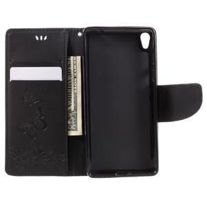 Butterfly PU kožené pouzdro na Sony Xperia E5 - černé - 6