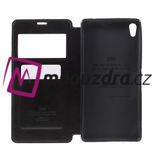 Richi PU kožené pouzdro s okýnkem na Sony Xperia XA Ultra - černé - 6