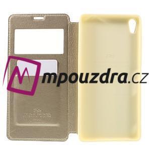Richi PU kožené pouzdro s okýnkem na Sony Xperia XA Ultra - zlaté - 6