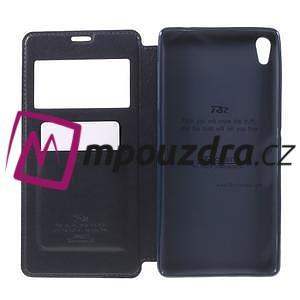 Richi PU kožené pouzdro s okýnkem na Sony Xperia XA Ultra - tmavěmodré - 6