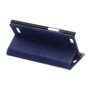 Croco style peněženkové pouzdro na BlackBerry Leap - tmavěmodré - 6