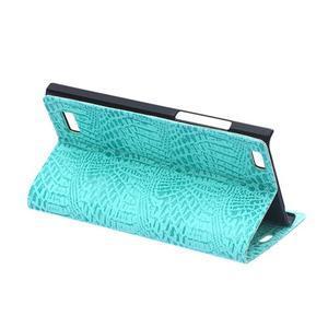 Croco style peněženkové pouzdro na BlackBerry Leap - cyan - 6
