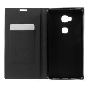 Klopové PU kožené pouzdro na Huawei Honor 5X - černé - 6