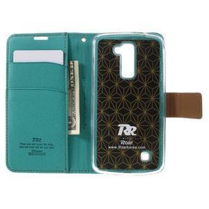Style PU kožené pouzdro pro LG K10 - zelenomodré - 6