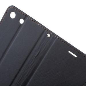 Wall PU kožené pouzdro na mobil Sony Xperia M5 - černé - 6