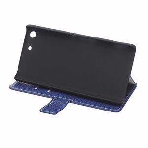 Peněženkové pouzdro s texturou krokodýlí kůže na Sony Xperia M5 - tmavědmodré - 6