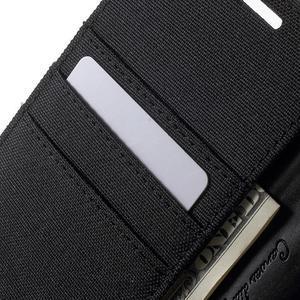 Canvas PU kožené / textilní pouzdro na Sony Xperia M5 - černé - 6