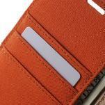 Canvas PU kožené / textilní pouzdro na Sony Xperia M5 - oranžové - 6/7