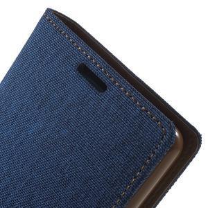Canvas PU kožené / textilní pouzdro na Sony Xperia M5 - modré - 6