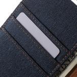 Canvas PU kožené / textilní pouzdro na Sony Xperia M5 - tmavěmodré - 6/7