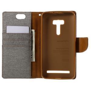Canvas PU kožené/textilní pouzdro na Asus Zenfone Selfie ZD551KL - šedé - 6