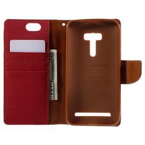 Canvas PU kožené/textilní pouzdro na Asus Zenfone Selfie ZD551KL - červené - 6
