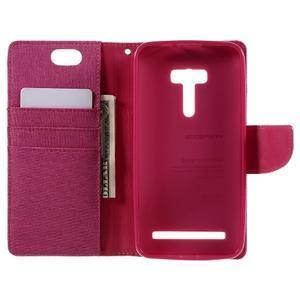Canvas PU kožené/textilní pouzdro na Asus Zenfone Selfie ZD551KL - rose - 6