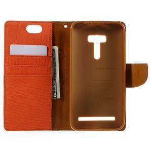 Canvas PU kožené/textilní pouzdro na Asus Zenfone Selfie ZD551KL - oranžové - 6