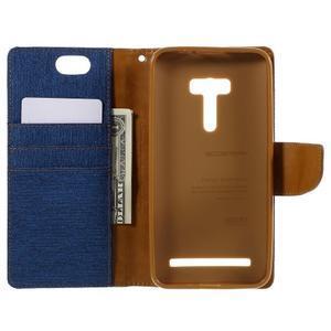 Canvas PU kožené/textilní pouzdro na Asus Zenfone Selfie ZD551KL - modré - 6