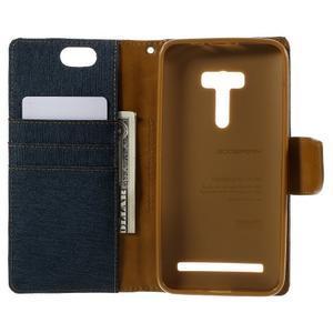 Canvas PU kožené/textilní pouzdro na Asus Zenfone Selfie ZD551KL - tmavěmodré - 6