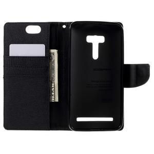 Canvas PU kožené/textilní pouzdro na Asus Zenfone Selfie ZD551KL - černé - 6