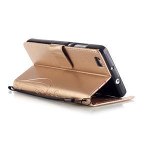 Magicfly PU kožené pouzdro na Huawei P8 Lite - zlaté - 6