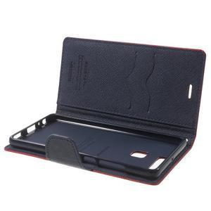 Diary PU kožené pouzdro na mobil Huawei P9 - červené - 6