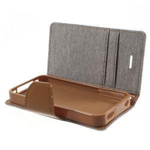 Canvas PU kožené/textilní pouzdro na iPhone 4 - šedé - 6